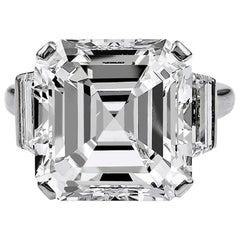 1960s 11.38 Carat Emerald-Cut Diamond Platinum Ring