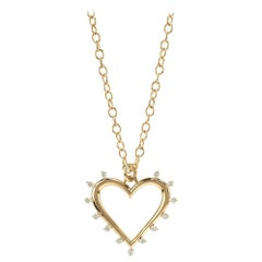 Marlo Laz White Diamonds Yellow Gold 14 Karat Open Heart Charm Necklace