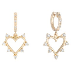 Marlo Laz White Diamond Yellow Gold 14 Karat Heart Spiked Hoop Earrings