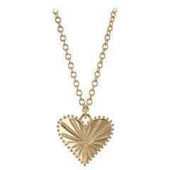 Marlo Laz White Diamond 14 Karat Yellow Gold Heart Coin Charm Necklace