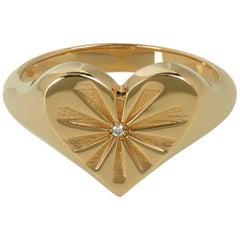 Marlo Laz White Diamond 14 Karat Rose Gold Heart Shape Pinky Ring with Sun-rays