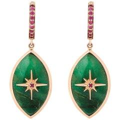 Marlo Laz Brazilian Jade Pink Ruby 14 Karat Rose Gold Evil Eye Earrings