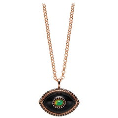 Marlo Laz Black Diamond Black Onyx Opal 14K Rose Gold Evil Eye Pendant Necklace