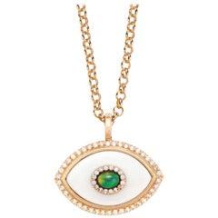 Marlo Laz Diamond White Onyx Opal 14K Yellow Gold Evil Eye Pendant Necklace