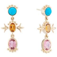 Marlo Laz Turquoise Tourmaline Citrin 14K Yellow Gold Squash Blossom Earrings