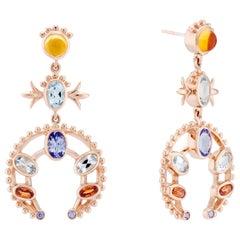 Marlo Laz Tanzanite Citrin 14K Rose Gold Southwestern Squash Blossom Earrings