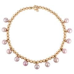 Marlo Laz Pearl 14K Yellow Gold Bead Squash Blossom Southwestern Collar Necklace
