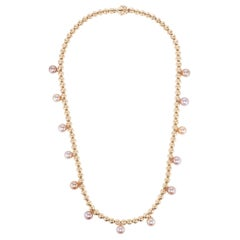 Marlo Laz Pink Pearl 14K Yellow Gold Bead Squash Blossom Southwestern Necklace
