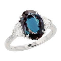 3 Carat Natural Brazilian Alexandrite and Diamond Three-Stone Platinum Ring