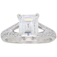 GIA Certified D VVS2 Emerald Cut Diamond Engagement Ring