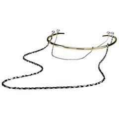 Silver Brass Neck Cuff Choker Italian Chains J Dauphin