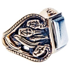 Crest Snake Ring Victorian Style Antique Silver Bronze J Dauphin