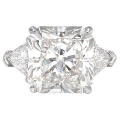 GIA Certified 7.71 Carat K VVS2 Radiant Cut Diamond Ring