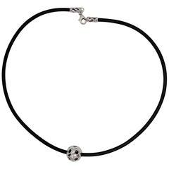 Kian Design White Gold Multi-Color Diamond Black Neoprene Necklace