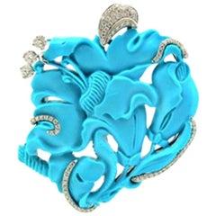 Margherita Burgener Turquoise Diamond Gold Pendant Brooch Pendant Necklace
