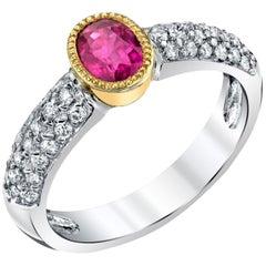 Bezel Set .91 Carat Burmese Ruby and Diamond 18k Yellow and White Gold Band Ring