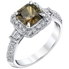 1.19 Carat Radiant Cut Coffee Color Diamond 18k White Gold Engagement Ring