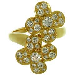 Van Cleef & Arpels Double Trefle Diamond Yellow Gold Clover Flower Ring