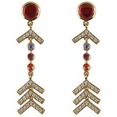 Marlo Laz Pave Diamond, Rhodolite, Tanzanite, Sapph Evening Arrow Earrings