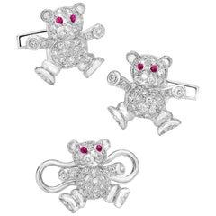 Cellini Jewelers 18kt Gold,  1.90ct. Diamond Teddy Bear Cuff Links & Stud Set