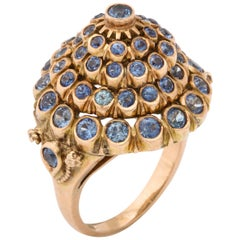 1950s Cone Style Pastel Color Sapphires with Gold Moveable Cocktail Ring