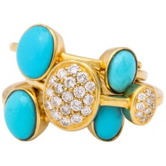 1990s Harem Style Turquoise with Diamonds Triple Flexible Gold Band Rings