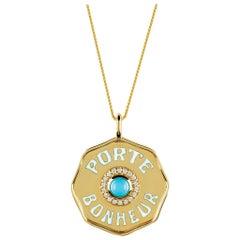 Marlo Laz 14K Gold Turquoise Porte Bonheur Lucky Coin Charm Pendant Necklace