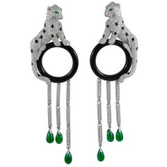 Cartier Diamond Emerald Onyx Panther Ear Clips