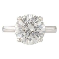 5.01 Carat Round Brilliant Diamond Solitaire Platinum Ring GIA Certified