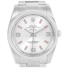 Rolex Air King Silver Dial Pink Baton Markers Unisex Watch 114200