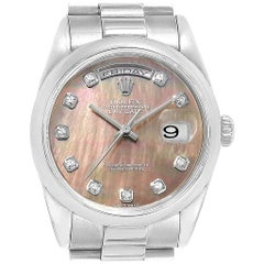 Rolex President Day-Date White Gold Mother of Pearl Diamond Men's Watch 118209