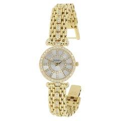 DeLaneau 18kt Yellow Gold & Diamond Bracelet Watch w/Faceted Crystal & MOP Dial