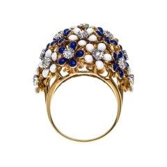18 Karat Gold Vintage Blue White Enamel Flowers  Diamond Dome Cocktail Ring