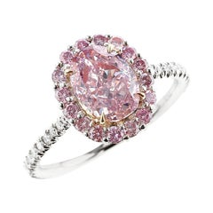 GIA Certified Natural 1 Carat Fancy Purplish Pink Diamond Halo Platinum Ring