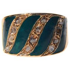 Antique 14 Karat Gold Edwardian Era Rosecut Diamond Enamel Cigar Band Ring