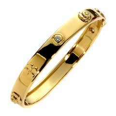 Chanel Camellia Gold Diamond Bangle Bracelet