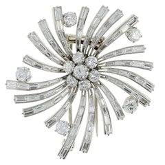 Retro Van Cleef & Arpels  Diamond Platinum Flower Brooch