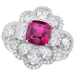 KAHN GRS Certified 3.11 Carat Unheated Pink Sapphire Ring
