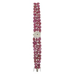 18 Karat Gold Watch with Natural Ruby and Diamonds