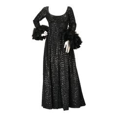 1960s Lillie Rubin Black Sequin Evening Gown with Feather Cuffs