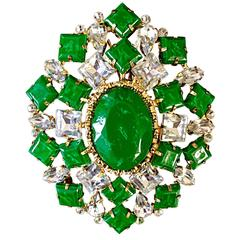 Gorgeous Vintage Arnold Scaasi 1960s Emerald Green Rhinestone Large Brooch Pin
