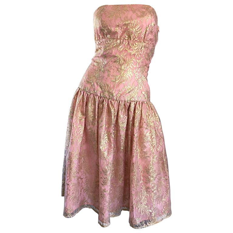 Vintage Halston Pink and Gold Metallic Lace Strapless 1980s 80s Cocktail Dress  For Sale
