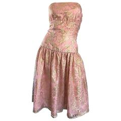Vintage Halston Pink and Gold Metallic Lace Strapless 1980s 80s Cocktail Dress
