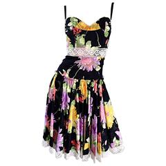 Tracy Feith Black Cotton Floral Print Lace Pretty Sun Dress w/ Full Skirt