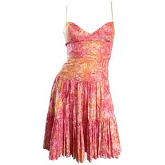 Tracy Feith Pink + Orange + White Watercolor print Tiered Dress w/ Rope Sleeves