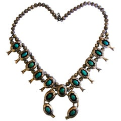 Squash Blossom Necklace Shadowbox Sterling Silver And Turquoise Navajo 1970s