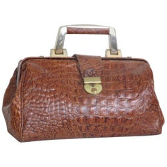 Little Embossed Crocodile Leather Doctor Bag