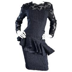 1990s Liancarlo Couture Vintage Avant Garde Black Lace Peplum 90s Cocktail Dress