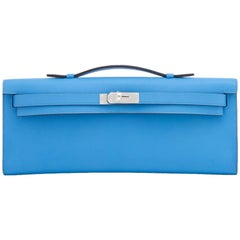 Hermes Blue Paradise Kelly Cut Swift Palladium Pochette Clutch Bag
