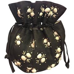 1950's Black Straw Pouch Bag with White Seashells